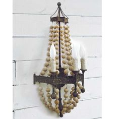 beaded wood chandelier - Google Search