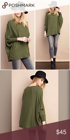 Deep olive soft and cozy dolman swing tunic! SUPER SOFT AND COZY WITH CUFFED LONG SLEEVES, BRUSHED KNIT STITCHES DETAILING TUNIC TOP! STUNNING FIT! Tops Tunics