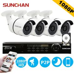 313.74$  Watch now - SUNCHAN HD AHD 4CH 1080P 2.0MP Security Cameras System 4*1080P Outdoor Night Vision CCTV Home Security System with HDD  #aliexpressideas