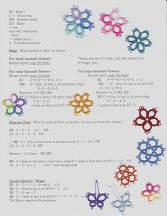 My patterns.   Freebie for tatters.  For Kanzashi flower centers AND my butterfly pattern