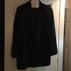 Anne Klein Black Pant Suit This Broadway Diva is making room in the closet for a new size and I wish I could tell that this is good news!!! I'm sure there's a song that tells that universal tale, thank god for Sondheim! Good times and bum times, I've seen them all, and, my dear,  I'm still here. Plush velvet sometimes, sometimes just pretzels and beer,  but I'm here. I've stuffed the dailies in my shoes, strummed ukuleles, sung the blues. Seen all my dreams disappear, but I'm here. Anne…
