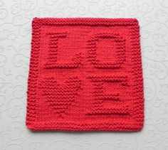 VALENTINE's Day Knit Dishcloth  LOVE Hand by AuntSusansCloset, $6.00