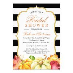 Autumn Pumpkins Maple Leaves Fall Bridal Shower Card