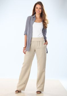 Laundered Linen Pant - These easy-fitting linen pants have a fold over ribbed waistband and side pockets.  #lelspring