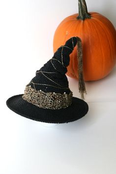 Baby Witch Hat Halloween Theme Photo Props Cute Baby Hats by Mila Black and Gold Witch Hat Crochet Halloween Hat Newborn Girl Photography - pinned by pin4etsy.com
