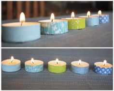 Washi Tape tea lights fun party decor