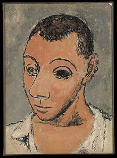 Self-Portrait, Pablo Picasso (Spanish, Malaga 1881–1973 Mougins, France ) Date: 1906 Medium: Oil on canvas mounted on honeycomb panel
