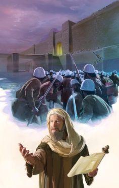 O exército de Ciro invadindo Babilônia pelos portões abertos como predito pelo profeta Isaías