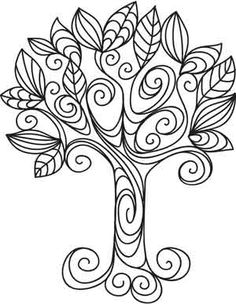 Doodle Tree free printable coloring page Hand Embroidery Patterns, Embroidery Stitches, Embroidery Designs, Modern Embroidery, Machine Embroidery, Tree Patterns, Flower Patterns, Tree Templates, Urban Threads