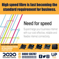 High-speed fibre is fast becoming the standard requirement for business. Teleconnect are at the forefront of providing customers with a range of internet connectivity in Leeds to suit every need and every budget. Need For Speed, Your Voice, Leeds, Pos, High Speed, Flexibility, Budgeting, Periodic Table, Connection