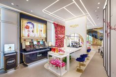 Maysu Cosmetics store concept with Spa. Crafted by Design Overlay. #Retail #Retail Design #Cosmetic Visual Merchandising, Oriental, Design Blog, Store Design, Boutique Stores, Design Furniture, Showroom, Overlays, Vanity