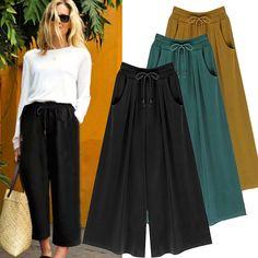 Hot Womens Wide Leg High Elastic Waist Casual Crop Pants Loose Culottes Trousers #ebay #Fashion