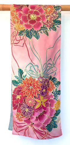 Silk Scarf Handpainted Large Reversible Scarf by SilkScarvesTakuyo
