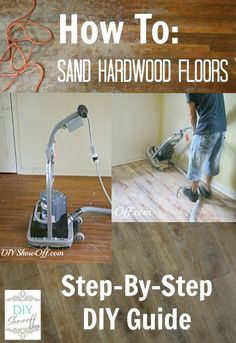 how to sand hardwood floors...MY VERDICT...I've done this & sanding the floors is not hard at all!! The worst part by far is the prep work b/c you have to move all your furniture somewhere which isn't easy to do. I should add that when you get to staining your floors, it is much easier to stain with a light stain than dark b/c any uneven application is very noticeable with dark stain Refinishing Hardwood Floors, Diy Flooring, Floor Refinishing, Sanding Wood Floors, Flooring Ideas, Wood Stain, Laminate Flooring, Home Renovation, Home Remodeling