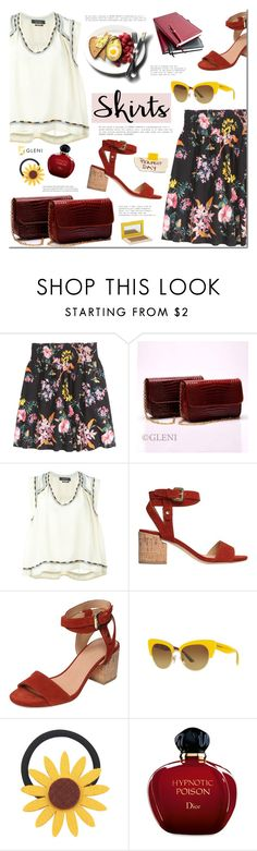 """""""Skirts Under $50"""" by mada-malureanu ❤ liked on Polyvore featuring H&M, Isabel Marant, Sigerson Morrison, Dolce&Gabbana, Chicnova Fashion, Christian Dior, TheBalm, under50, gleni and gleniboutique"""