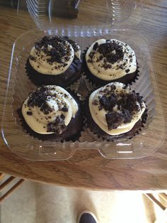 Devil Food Cake with malt buttercream frosting with an Oreo Cookie crumb top.