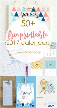 50+ 2017 FREE printable calendars | Print your calendar off monthly!!