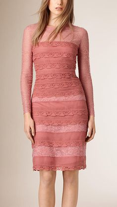 Sugar pink Tiered French Lace Shift Dress - Burberry