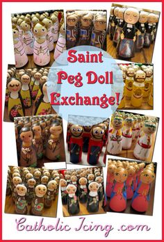 Catholic Saint peg dolls- how to have an exchange. This is so great! Every mom paints a bunch of the same peg doll, then everyone trades. This is a GREAT way to start your Catholic peg doll collection!