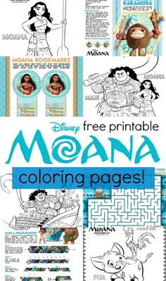 How fun are these printable Disney's MOANA coloring pages and activity sheets? The is such a cute movie! Print these out for free, your kids will love coloring these!