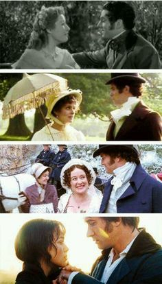 Pride & Prejudice; (from top) Greer Garson and Lawrence Olivier (1940) ; Elizabeth Garvie and David Rintoul (1980); Jennifer Ehle and Colin Firth (1995); Keira Knightley and Matthew Macfadyen (2005)