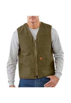 Carhartt Mens V26 Sandstone Rugged Vest Sherpa Lined - Army Green   Buy Now at camouflage.ca