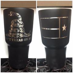 Don't tread on me custom black yeti with texas flag
