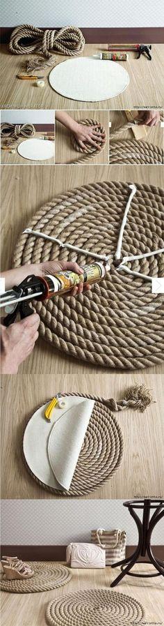 Enkel oppskrift på tau-teppe: snurr tauet, lim på bakstykket. (Bilde fra Pinterest/muyingenioso.com)