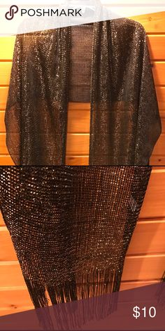 Scarf/shawl Black with gold metallic.  Fringe ends.  Nice coverup for black or gold dress.  Never used. Accessories Scarves & Wraps