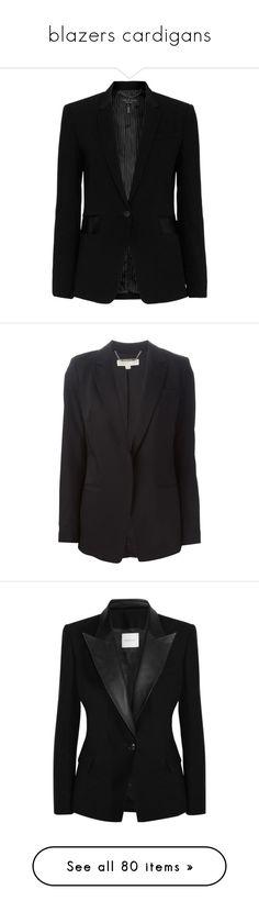 """blazers cardigans"" by evenaka on Polyvore featuring outerwear, jackets, blazers, coats, tops, black, blazer jacket, notch collar blazer, long sleeve jacket and rag bone blazer"