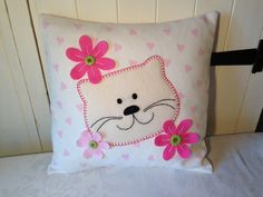 Cat 'n' Flower cushion :) xx on Etsy, £20.00