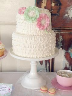 Shabby Chic Tea Party via Kara's Party Ideas | KarasPartyIdeas.com Gorgeous cake!