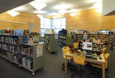 Stacks on wheels create a flexible library space at Renton Park Elementary  School.