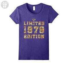 Womens HAPPY 1979 IT'S MY 38TH YEAR OLD BIRTHDAY GIFT TSHIRT Large Purple - Birthday shirts (*Amazon Partner-Link)