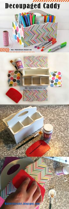 Use your favorite papers and Mod Podge to create this decoupaged caddy - perfect for back to school!