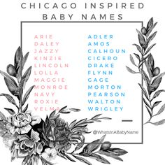 Chicago, Illinois / Chicago the Musical Inspired Baby Names for Girls and Boys || For more check out my instagram: @WhatsInABabyName #WhatsInABabyName || What's In A Baby Name || Arie Daley Jazzy Kinzie Lincoln Lolla Maggie Monroe Navy Roxie Velma || Adler Amos Calhoun Cicero Drake Flynn Gage Morton Pearson Walton Wrigley ||