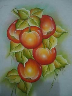 Maçãs Fruit Painting, One Stroke Painting, Tole Painting, Fabric Painting, Colored Pencil Techniques, Flower Phone Wallpaper, Beautiful Flowers Wallpapers, Fruit Art, Pictures To Paint