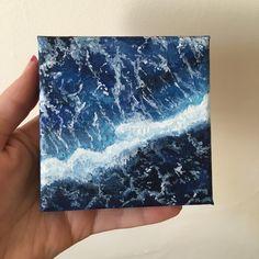 Ocean Wave Painting, Beach Wave Painting, Dark Water Painting, Acrylic Wave Painting, Acrylic Canvas Painting, Mini Canvas Painting by wnktheshop on Etsy