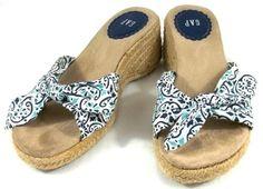 GAP Shoes Womens 5 M Multi-Color Fabric Slip On Wedge Heel Espadrilles Sandals #GAP #Espadrilles