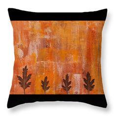 Throw Pillows - Autumn Abstract Art  Throw Pillow by Kathleen Wong