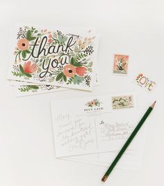 Wildflower Thank You Postcards, Love the cards by Rifle Paper CO. This card would make the receiver smile for sure.