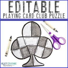 EDITABLE Printing Playing Cards Club Shape Puzzle Activity | 1st, 2nd, 3rd, 4th, 5th, 6th, 7th, 8th grade - first, second, third, fourth, fifth, sixth, seventh, eighth graders - elementary 4th Grade Classroom, Special Education Classroom, School Fun, Middle School, Reading Recovery, Ell Students, Make Your Own Puzzle, Shape Puzzles, Classroom Decor Themes