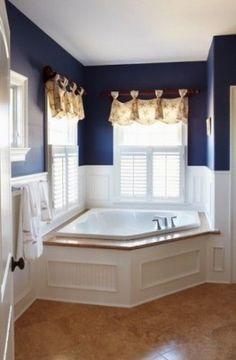Navy Bathroom, Nautical Bathrooms, Master Bathroom, Blue Bathrooms, Bathroom Basin, Bathroom Interior, Corner Window Treatments, Bathroom Window Treatments, Bathroom Window Curtains