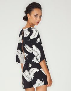 Buy Motel Jessica Open Back Playsuit in Feather Print at Motel Rocks