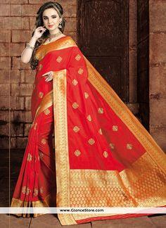 Immaculate Weaving Work Art Raw Silk Traditional Saree