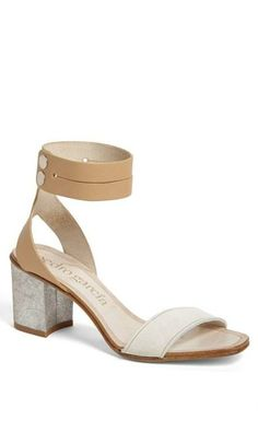 49d7069a8c5 Glitter heel. Nude sandal. Perfection. Ankle Strap Block Heel