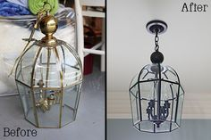 Amazing brass pendant lamp make-over.  LOVE IT!  I have got to do this when we move... the house is full of ugly ass brass fixtures.  this chick's sense of humor on her blog is pretty good too. haha