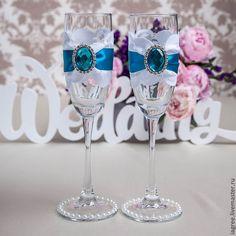 """Свадебные бокалы """"Бирюза"""" - бирюзовый,свадебные бокалы,свадебные фужеры"""