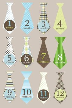 Iron on or sticker monthly tie decals for boys by ABabyNotion, $12.00