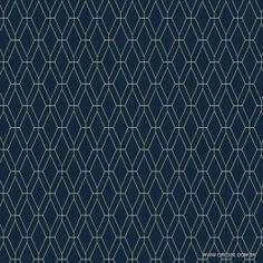 Papel de parede Decoração Geométrico Origini 204-42, Wallpaper, Importado, Lavável, Superfície lisa, Azul marinho e Branco